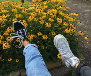 flowers, yellow, and shoes image