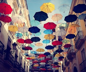 umbrella, colors, and sky image
