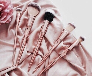 makeup, Brushes, and rose gold image