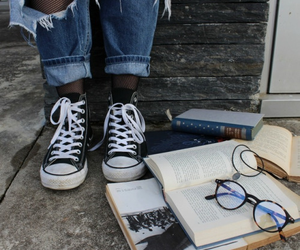 converse, book, and glasses image
