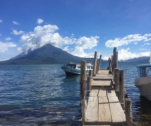 blue, boat, and guatemala image
