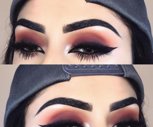 makeup, brown, and eyeliner image