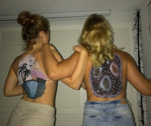 back, best friends, and bodypainting image