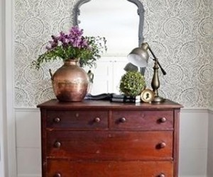 bedroom, country living, and dresser image