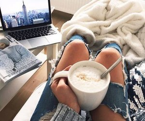 coffee, jeans, and cozy image