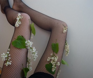 black, legs, and flowers image