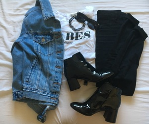 black, boots, and denim image