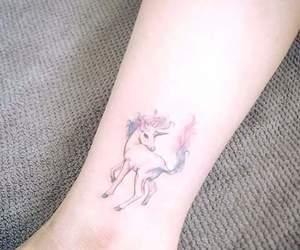 colours, tatoo, and unicorn image