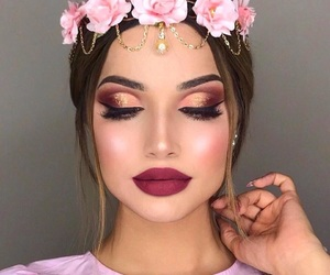 makeup, girl, and flowers image