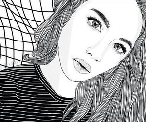 black&white, drawing, and grey image