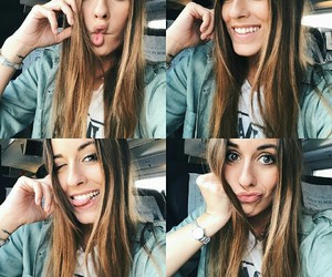 girl, smile, and selfie image
