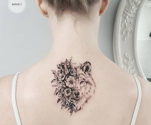 flowers, tattoo, and wolf image