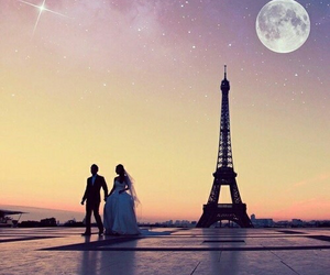 paris, moon, and couple image