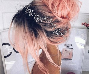 beautiful, hairstyle, and pink image