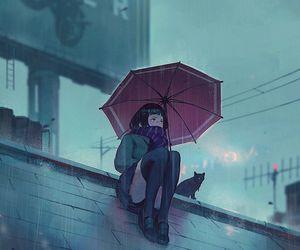 rain, anime, and cat image