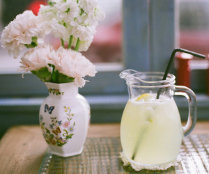flowers, lemonade, and vintage image