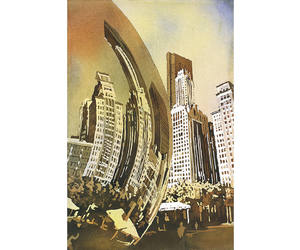 chicago, chicago city, and watercolor print image