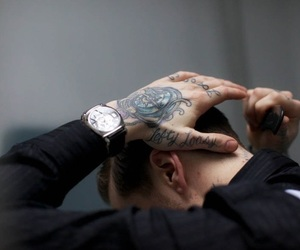 tattoo, boy, and watch image