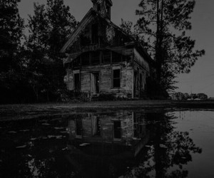 abandoned, black and white, and creepy image