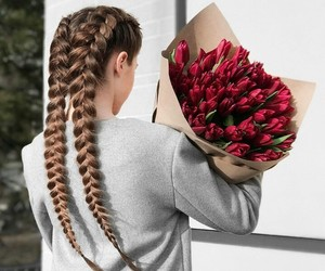 flowers, braid, and hair image