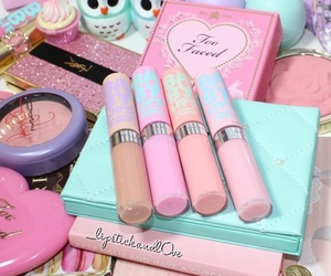 too faced, baby lips, and mac image