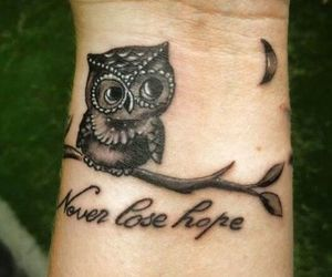 black, owl, and tattoo image