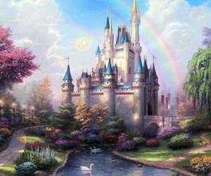 castle, disney, and rainbow image