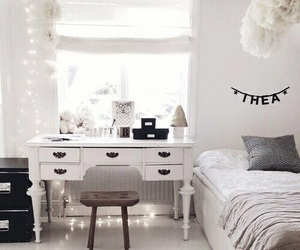 bed, desk, and tumblr room image