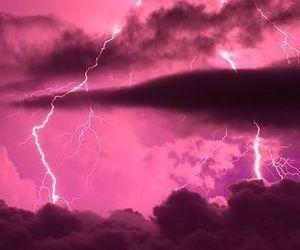pink, clouds, and lightning image