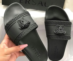 Versace, black, and shoes image