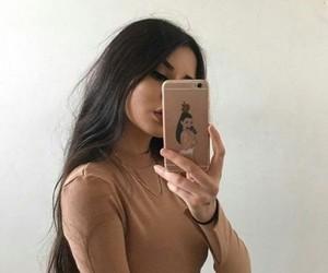 apple, brown hair, and dark hair image