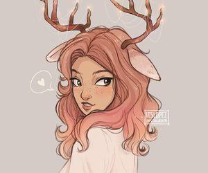 girl, art, and deer image