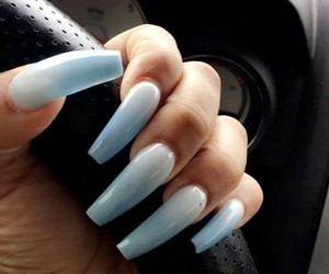 blue nails, white nails, and gradiant nails image