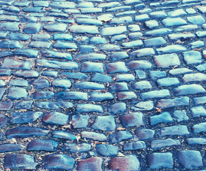 blue, cobblestones, and pattern image