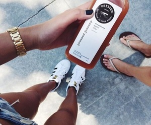 drinks, girly, and sneakers image