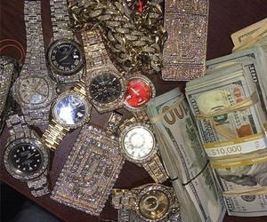 money, watch, and luxury image