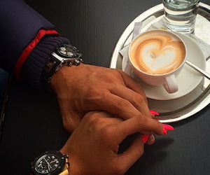 boyfriend, hands, and coffee image