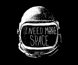 space, black and white, and astronaut image