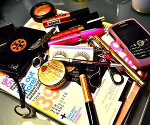 makeup, magazine, and blackberry image