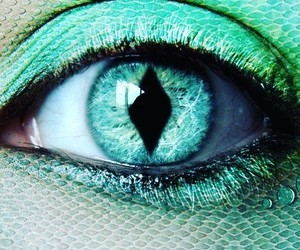 eyes, mint green, and mermaid image