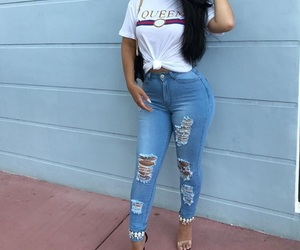 graphic tee, heels, and fashion goals image