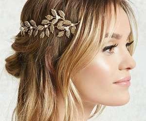 blonde hair, balayage, and gold headband image