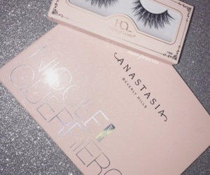 makeup, lashes, and pink image