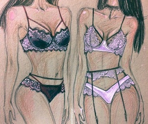 fashion, illustration, and lavender image