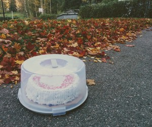cake, leaves, and fall image
