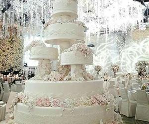 cake, roses, and wedding image