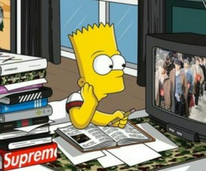 bart simpson, cartoon, and homework image