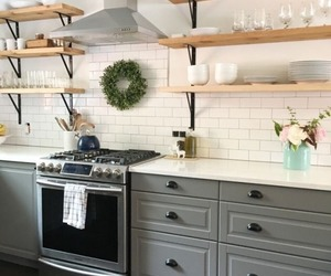 home decor, kitchen, and open shelving image