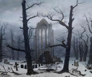 black and white, caspar david friedrich, and cemetery image