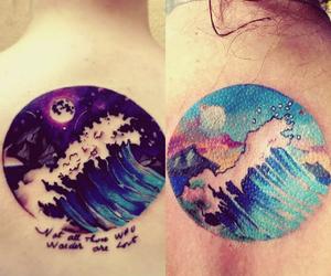 moon, tatoo, and wave image